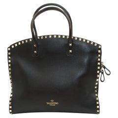 Valentino Black Leather Rockstud Satchel