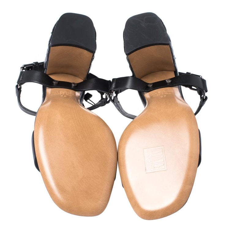 Valentino Black Leather Rockstud Spike Block Heel Sandals Size 39 2