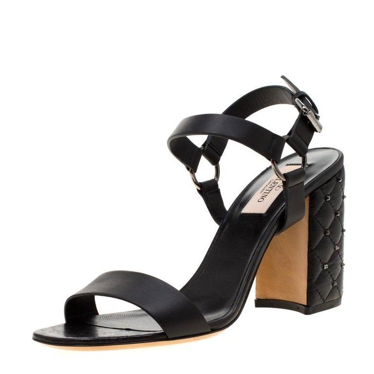Valentino Black Leather Rockstud Spike Block Heel Sandals Size 39 3