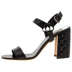 Valentino Black Leather Rockstud Spike Block Heel Sandals Size 39