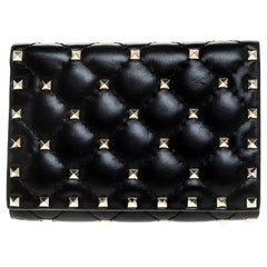 Valentino Black Leather Rockstud Spike Compact Wallet