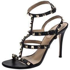 Valentino Black Leather Rockstud Strappy Sandals Size 37.5