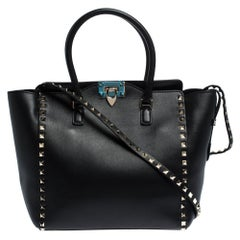 Valentino Black Leather Rockstud Tote