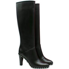 Valentino Black Leather Rockstud Trim Knee Boots 40 EU