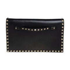 Valentino Black Leather Rockstud Wristlet Clutch