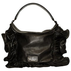 Valentino Black Leather Ruffle Frame Top Handle Bag