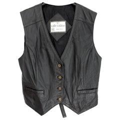 Valentino Black Leather Short Biker Vest