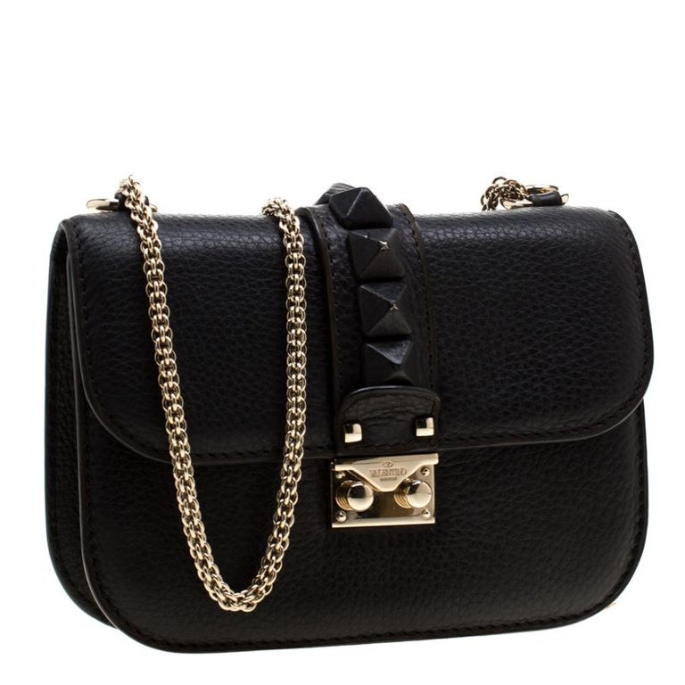 Women's Valentino Black Leather Small Glam Lock Flap Bag For Sale