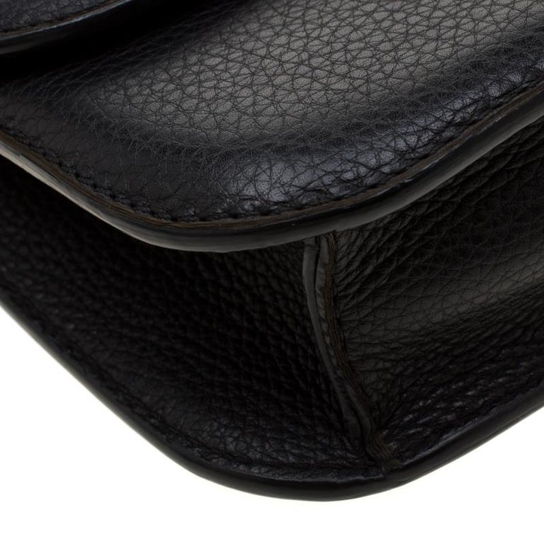 Valentino Black Leather Small Glam Lock Flap Bag For Sale 3
