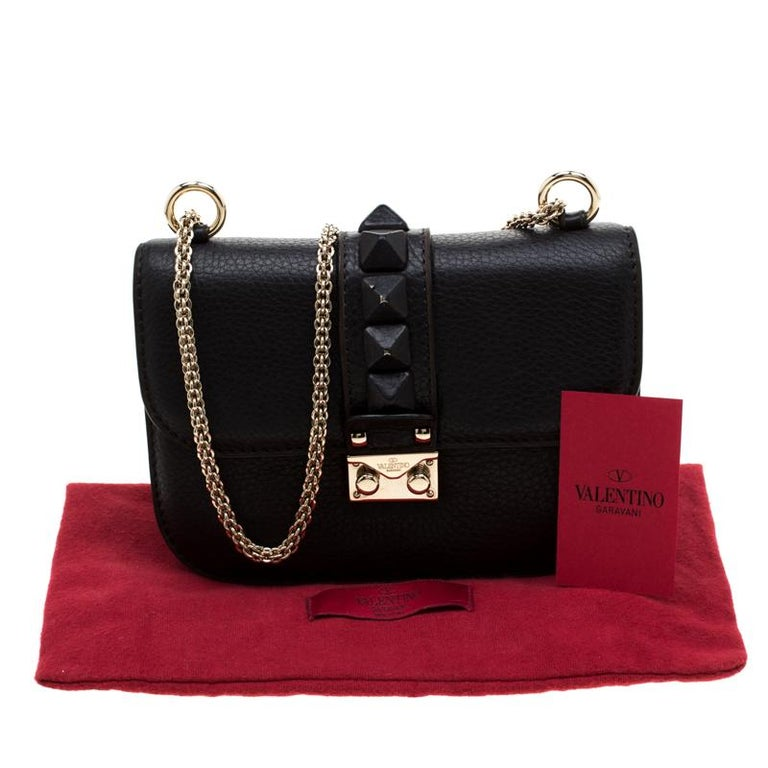 Valentino Black Leather Small Glam Lock Flap Bag For Sale 7