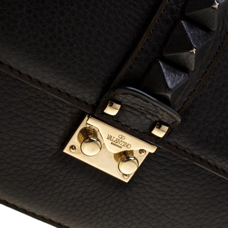 Valentino Black Leather Small Glam Lock Flap Bag For Sale 6