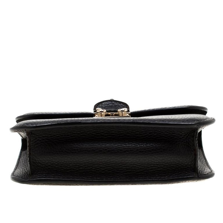 Valentino Black Leather Small Glam Lock Flap Bag For Sale 1