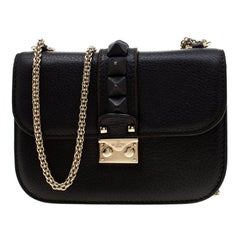 Valentino Black Leather Small Glam Lock Flap Bag