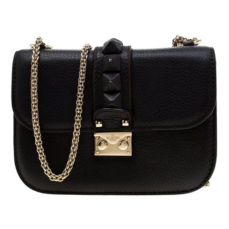 Valentino Black Leather Small Glam Lock Flap Bag For Sale