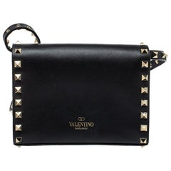 Valentino Black Leather Small Rockstud Flap Crossbody Bag