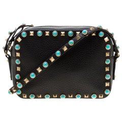 Valentino Black Leather Small Rolling Rockstud Crossbody Bag