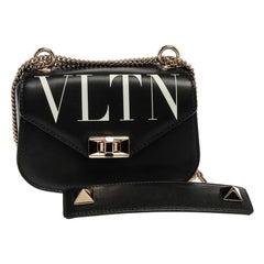 Valentino Black Leather Small VLTN Chain Shoulder Bag