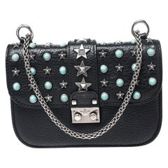 Valentino Black Leather Star Studded Glam Shoulder Bag