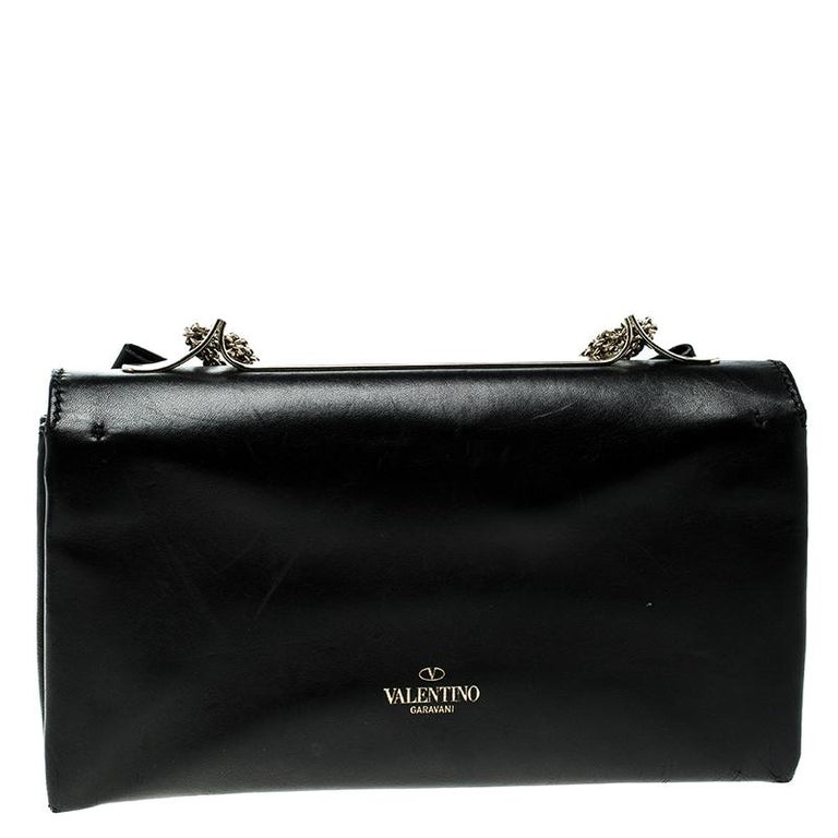 Women's Valentino Black Leather Studded Bow Crossbody Bag For Sale