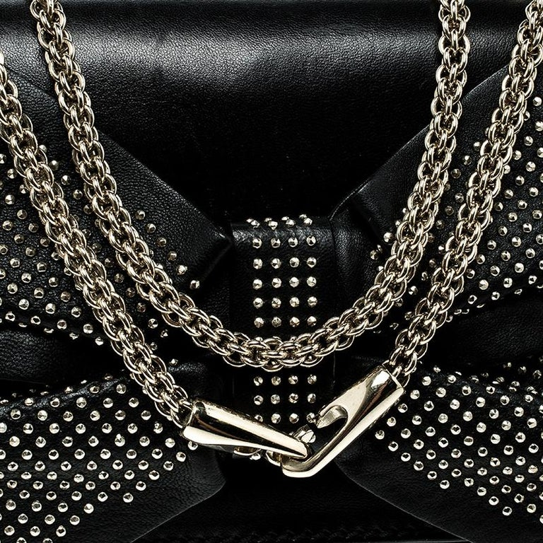 Valentino Black Leather Studded Bow Crossbody Bag For Sale 1