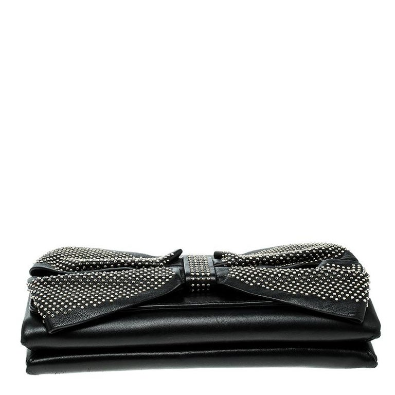 Valentino Black Leather Studded Bow Crossbody Bag For Sale 2