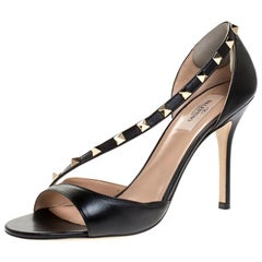 Valentino Black Leather Studded D'orsay Sandals Size 39.5