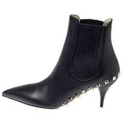 Valentino Black Leather Studded Pointed Toe Booties Size 38.5