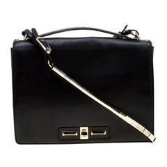 Valentino Black Leather Turnlock Metal Chain Shoulder Bag