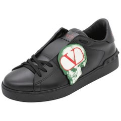 Valentino Black Leather Undercover Jun Takahashi Open Sneakers Size 42