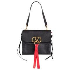 VALENTINO black leather VRING MEDIUM FLAP Shoulder Bag