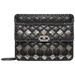 Valentino Black Leather with Metal Rhombus Detail Medium Spike Shoulder Bag