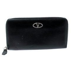 Valentino Black Leather Zip Around Wallet