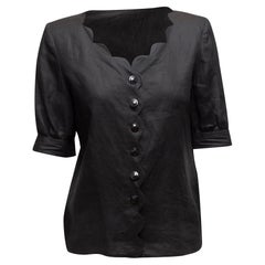Valentino Black Linen Scalloped Top