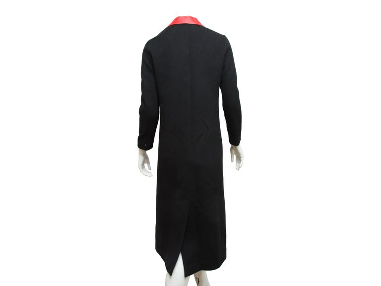 Valentino Black Long Wool Coat In Good Condition For Sale In New York, NY