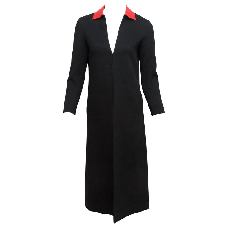 Valentino Black Long Wool Coat For Sale