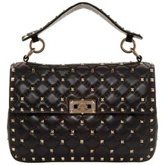 Valentino Black Medium Rockstud Matelassé Bag LW0B0122NAP