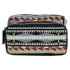 VALENTINO black & multi BEADED Hip Pack Belt Bag