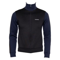 Valentino Black & Navy Blue Paneled Jersey Logo Printed Zip Front Track Jacket X