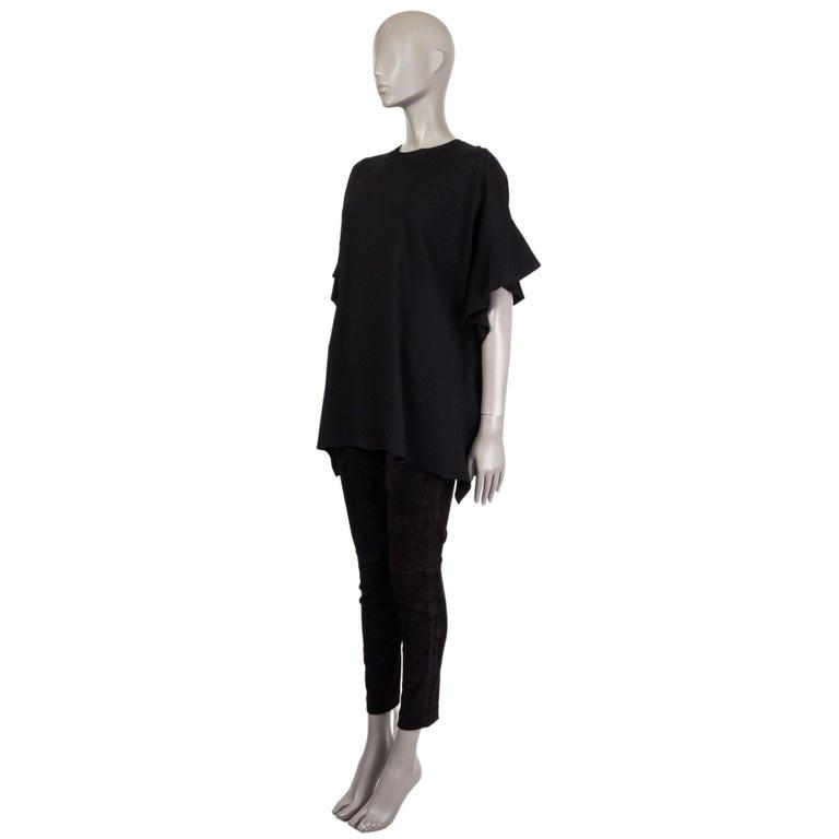Black VALENTINO black OVERSIZED RUFFLE SEAM KNIT Blouse Shirt S For Sale