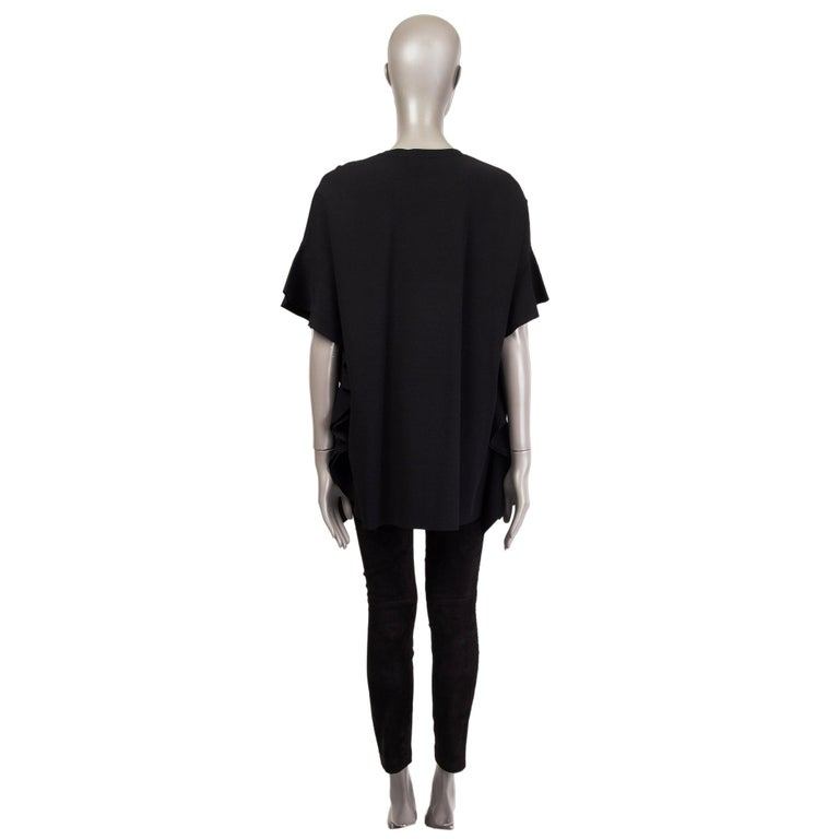 VALENTINO black OVERSIZED RUFFLE SEAM KNIT Blouse Shirt S In Excellent Condition For Sale In Zürich, CH