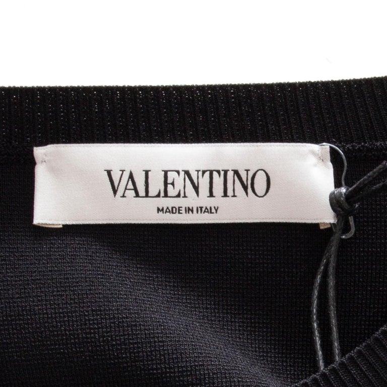 Women's VALENTINO black OVERSIZED RUFFLE SEAM KNIT Blouse Shirt S For Sale