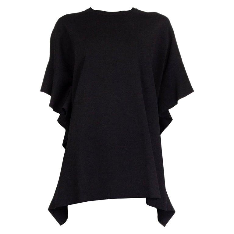 VALENTINO black OVERSIZED RUFFLE SEAM KNIT Blouse Shirt S For Sale