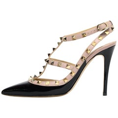 Valentino Black Patent Leather Cage Rockstud Pumps sz 39.5