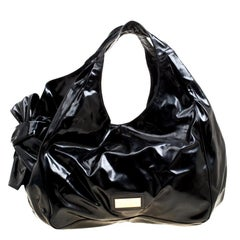Valentino Black Patent Leather Large Nuage Bow Tote