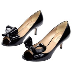 Valentino Black Patent Leather Open Toe Heels With Statement Bows