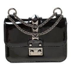 Valentino Black Patent Leather Rockstud Mini Glam Lock Shoulder Bag