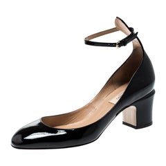 Valentino Black Patent Leather Tango Ankle Strap Pumps Size 36.5