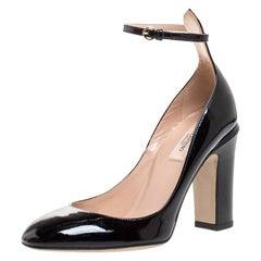 Valentino Black Patent Leather Tango Ankle Strap Pumps Size 38