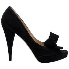 Valentino Black Peep-Toe Bow Pumps