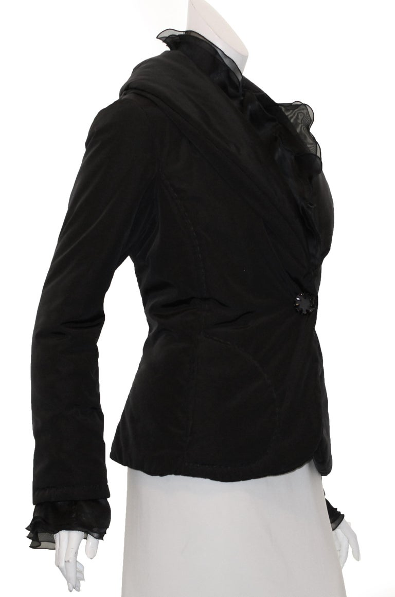 Women's Valentino Black Puffer Jacket with Ruffle Collar & Cuffs For Sale